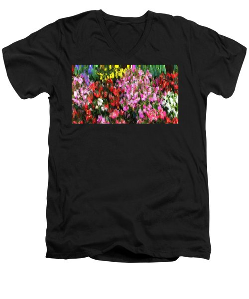 Men's V-Neck T-Shirt featuring the mixed media Les Fleurs by Terence Morrissey
