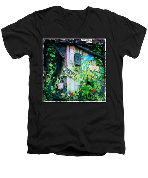 Men's V-Neck T-Shirt featuring the photograph License Plate Wall by Nina Prommer