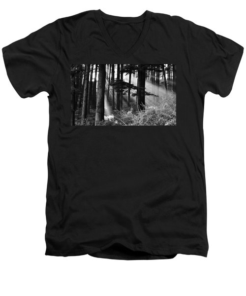 Men's V-Neck T-Shirt featuring the photograph Light Through The Trees by Don Schwartz