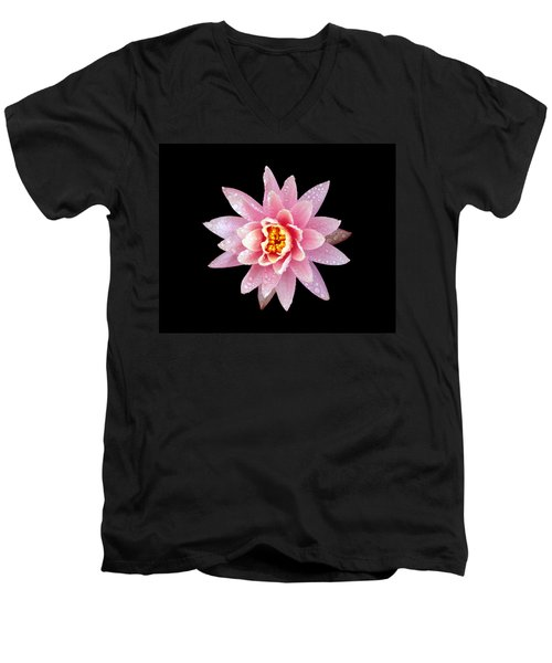 Men's V-Neck T-Shirt featuring the photograph Lily On Black by Bill Barber