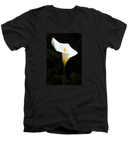 Men's V-Neck T-Shirt featuring the photograph Lily On Black by Nareeta Martin