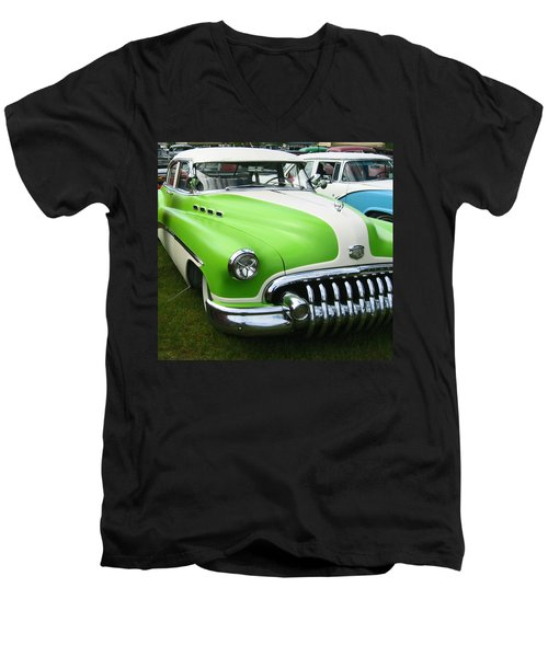 Men's V-Neck T-Shirt featuring the photograph Lime Green 1950s Buick by Kym Backland