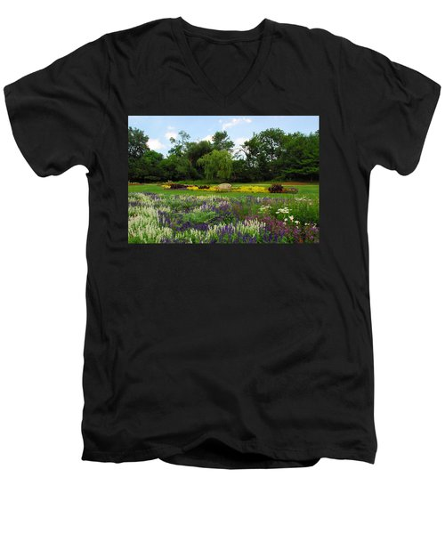 Men's V-Neck T-Shirt featuring the photograph Lincoln Park Gardens by Lynn Bauer