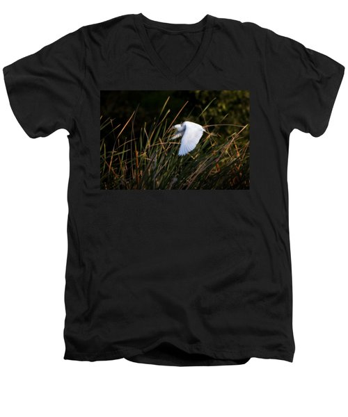 Men's V-Neck T-Shirt featuring the photograph Little Blue Heron Before The Change To Blue by Steven Sparks
