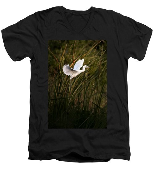 Men's V-Neck T-Shirt featuring the photograph Little Blue Heron On Approach by Steven Sparks