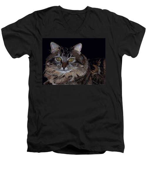 Little Girl - Maine Coon Cat Painting Men's V-Neck T-Shirt by Patricia Barmatz