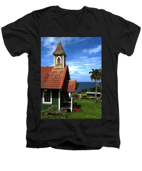 Little Green Church In Hawaii Men's V-Neck T-Shirt by Dorothy Cunningham