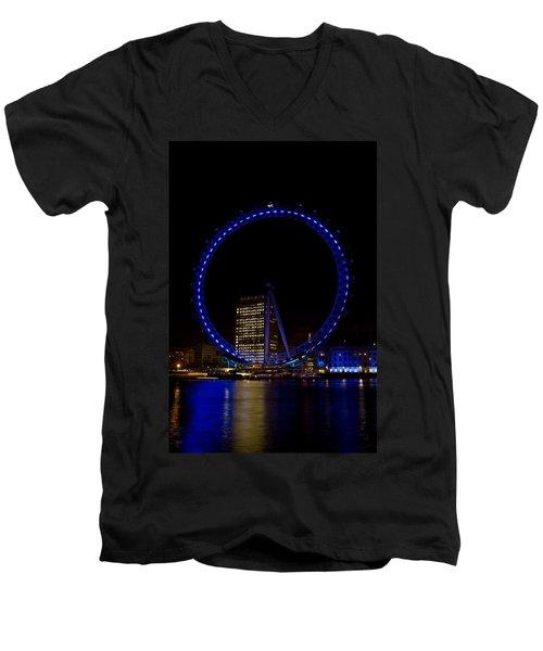 London Eye And River Thames View Men's V-Neck T-Shirt