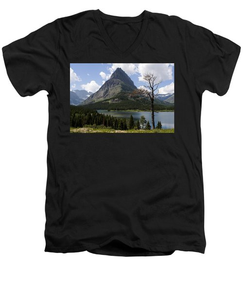 Lone Tree At Sinopah Mountain Men's V-Neck T-Shirt