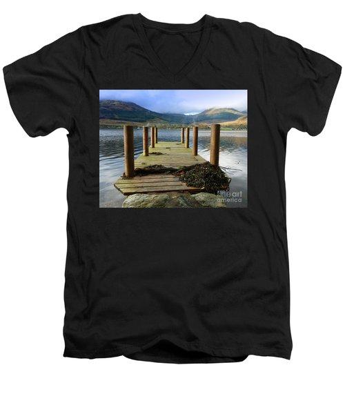 Men's V-Neck T-Shirt featuring the photograph Long Walk Off A Short Pier by Lynn Bolt
