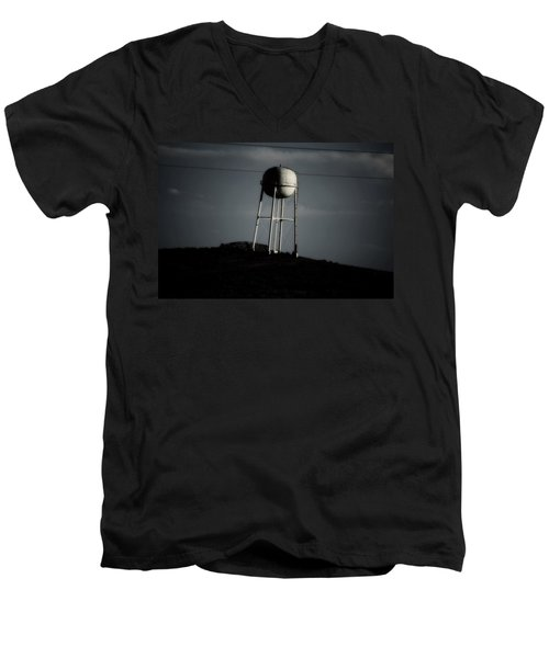 Men's V-Neck T-Shirt featuring the photograph Lopsided Tower by Jessica Shelton