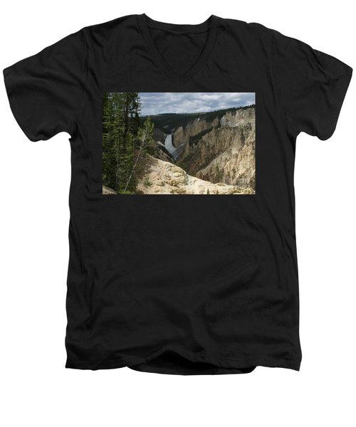 Men's V-Neck T-Shirt featuring the photograph Lower Falls Of Yellowstone by Living Color Photography Lorraine Lynch