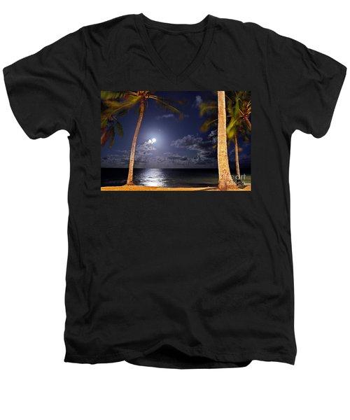 Maceio - Brazil - Ponta Verde Beach Under The Moonlit Men's V-Neck T-Shirt
