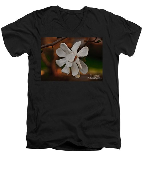 Men's V-Neck T-Shirt featuring the photograph Magnolia Bloom by Barbara McMahon