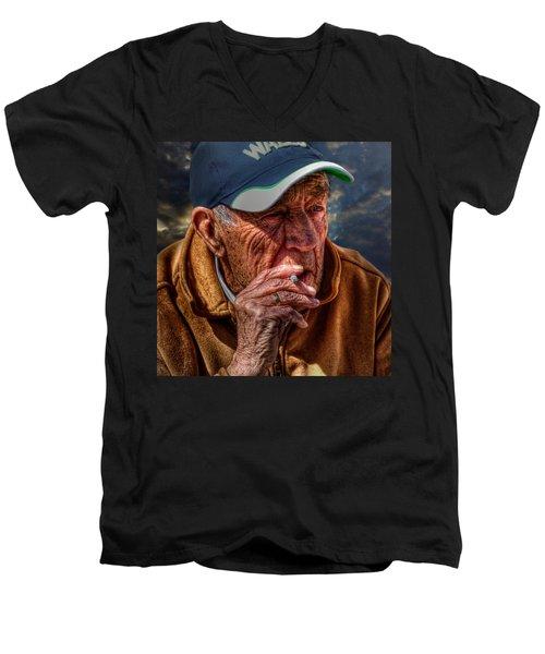 Man Smoking Men's V-Neck T-Shirt