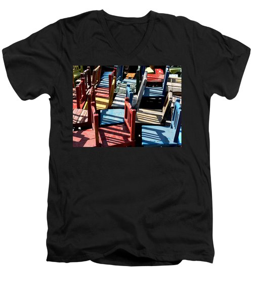 Men's V-Neck T-Shirt featuring the photograph Many Seats For Learning by EricaMaxine  Price