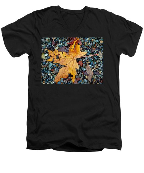 Maple Leaf On The Rocks Men's V-Neck T-Shirt by Tikvah's Hope