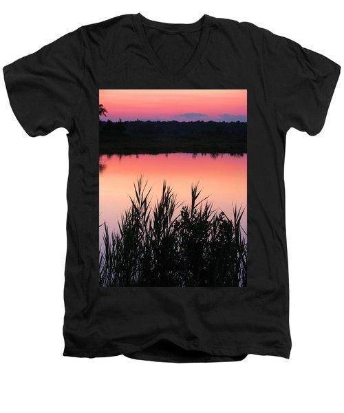 Men's V-Neck T-Shirt featuring the photograph Marsh Sunset by Clara Sue Beym