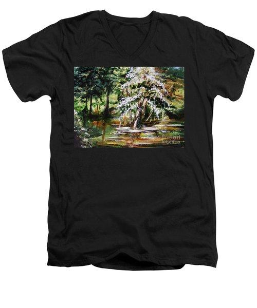 Men's V-Neck T-Shirt featuring the painting Marsh Tide by Karen  Ferrand Carroll