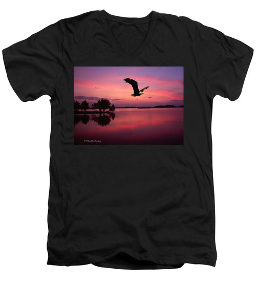 Men's V-Neck T-Shirt featuring the photograph Mauve Sundown Eagle  by Randall Branham
