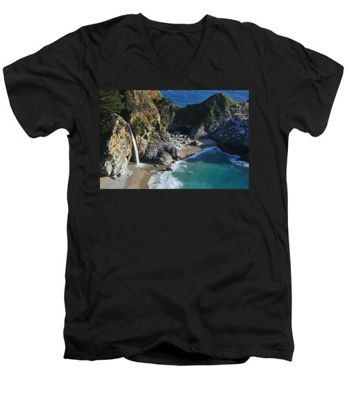 Men's V-Neck T-Shirt featuring the photograph Mcway Falls by Lynn Bauer
