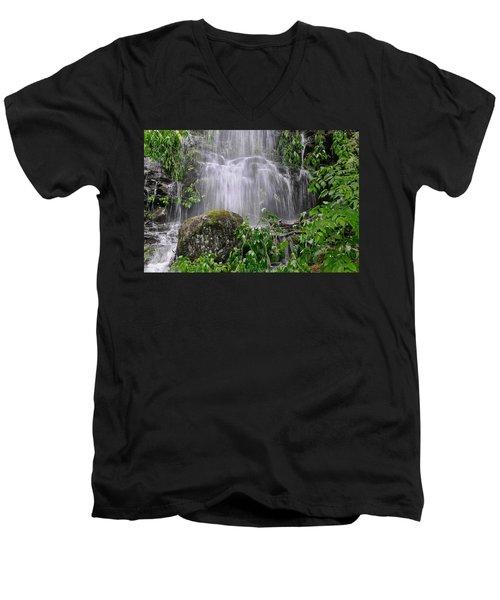 Mendenhall Glacier Flooding Waterfall Juneau Alaska 1542 Men's V-Neck T-Shirt by Michael Bessler
