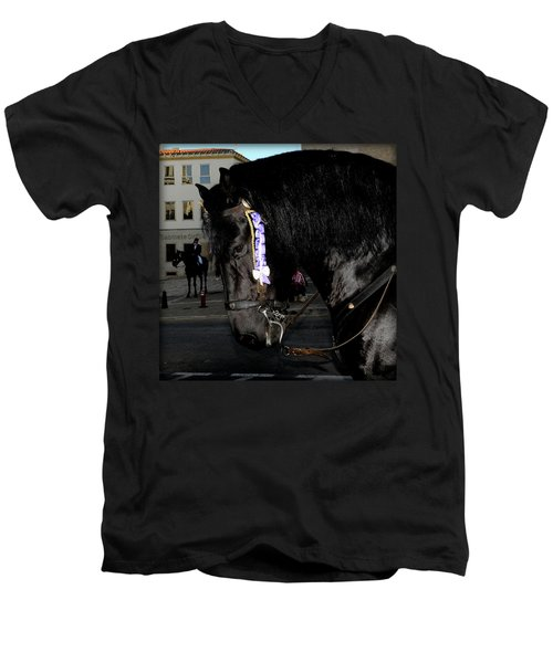 Men's V-Neck T-Shirt featuring the photograph Menorca Horse 2 by Pedro Cardona