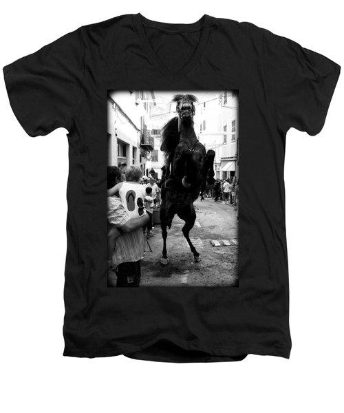 Men's V-Neck T-Shirt featuring the photograph Menorca Horse 3 by Pedro Cardona