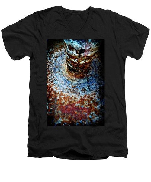 Men's V-Neck T-Shirt featuring the photograph Metallic Fluid by Pedro Cardona