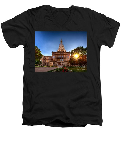 Men's V-Neck T-Shirt featuring the photograph Michigan Capitol - Hdr-1 by Larry Carr
