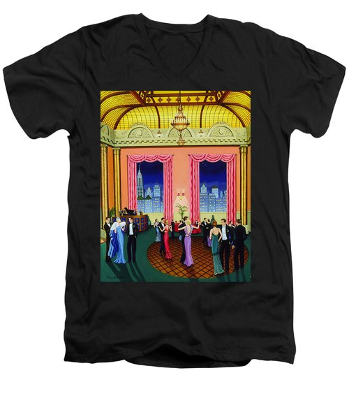 Midnight In Manhattan Men's V-Neck T-Shirt by Tracy Dennison