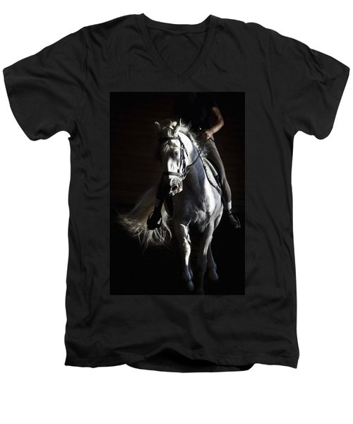 Midnight Ride Men's V-Neck T-Shirt by Wes and Dotty Weber