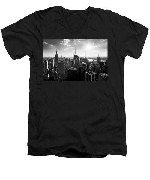 Midtown Skyline Infrared Men's V-Neck T-Shirt