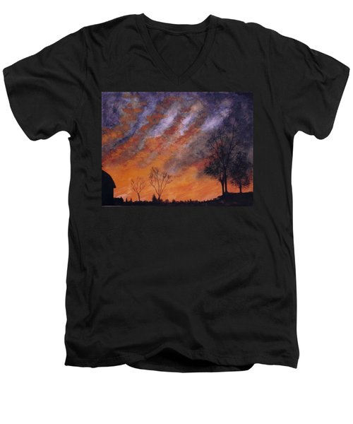Men's V-Neck T-Shirt featuring the painting Midwest Sunset by Stacy C Bottoms