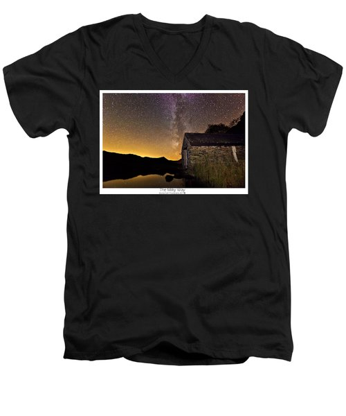 Men's V-Neck T-Shirt featuring the photograph Milky Way Above The Old Boathouse by Beverly Cash
