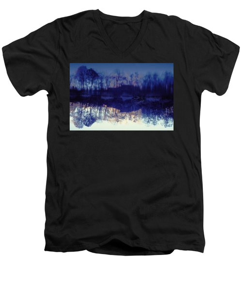 Men's V-Neck T-Shirt featuring the photograph Mirror Pond In The Berkshires by Tom Wurl