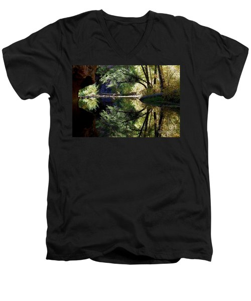 Men's V-Neck T-Shirt featuring the photograph Mirror Reflection by Tam Ryan