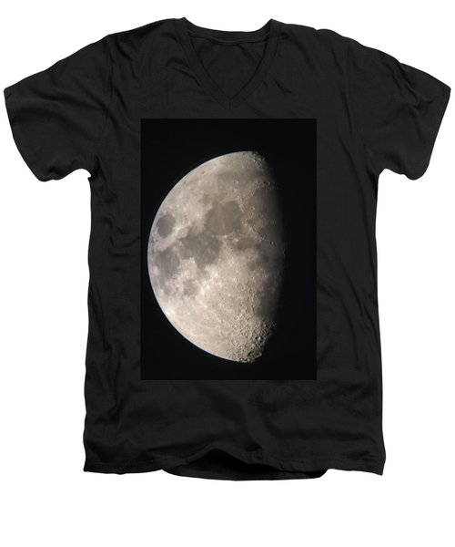 Men's V-Neck T-Shirt featuring the photograph Moon Against The Black Sky by John Short
