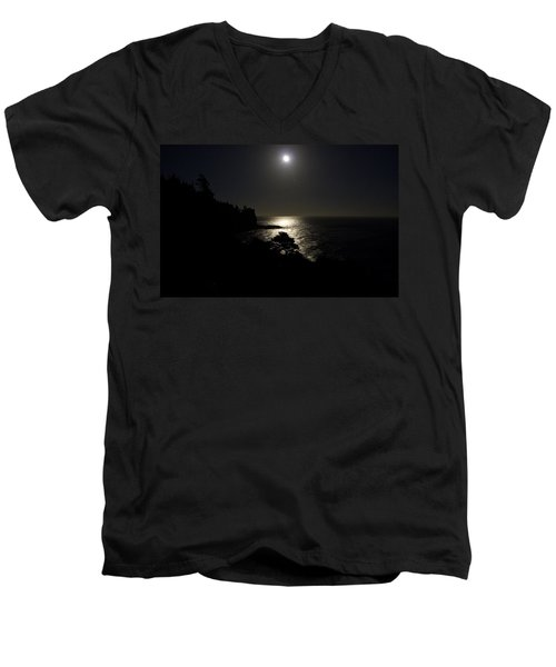 Moon Over Dor Men's V-Neck T-Shirt by Brent L Ander
