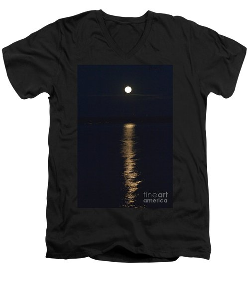 Moon Over Seneca Lake Men's V-Neck T-Shirt by William Norton