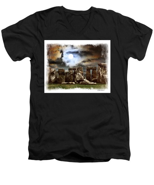 Moon Over Stonehenge Men's V-Neck T-Shirt