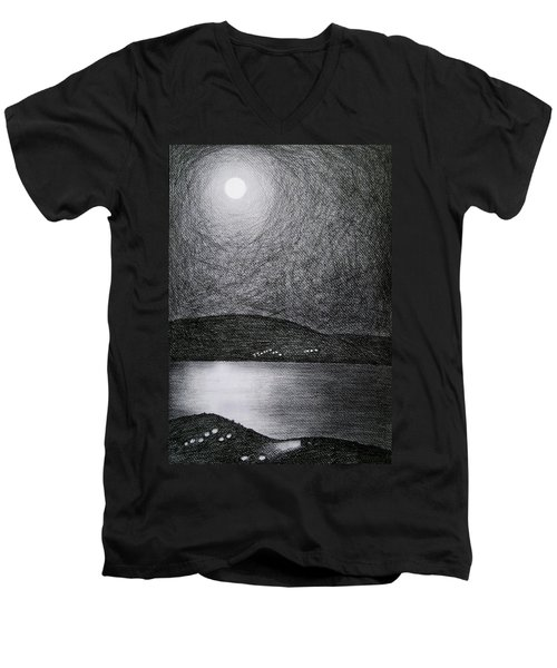 Moon Reflection On The Sea Men's V-Neck T-Shirt