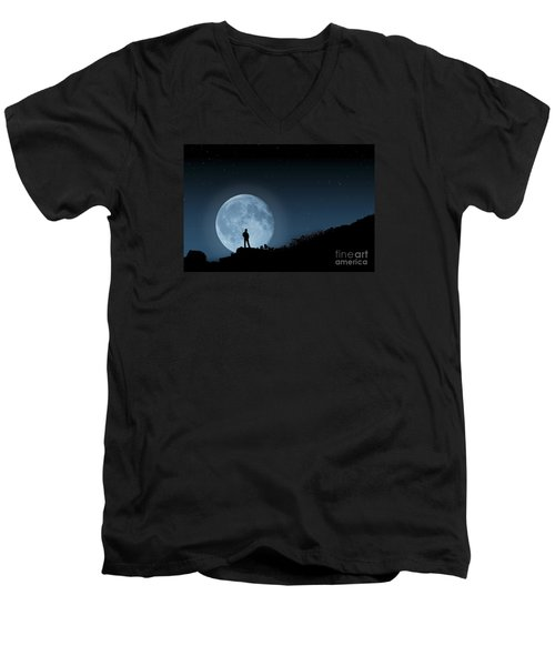Men's V-Neck T-Shirt featuring the photograph Moonlit Solitude by Steve Purnell