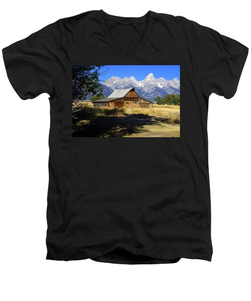 Men's V-Neck T-Shirt featuring the photograph Mormon Row Barn by Marty Koch