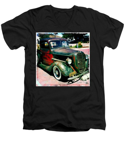 Men's V-Neck T-Shirt featuring the photograph Morning Glory Coal Truck by Nina Prommer