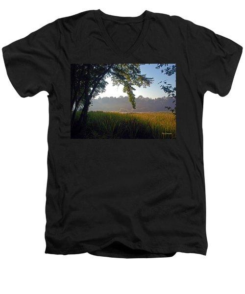 Morning On The River Men's V-Neck T-Shirt by Kay Lovingood