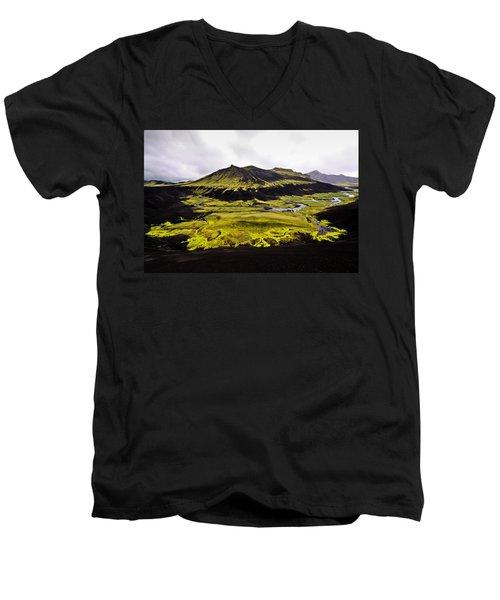 Moss In Iceland Men's V-Neck T-Shirt