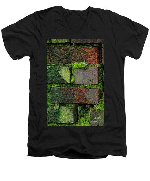 Mossy Brick Wall Men's V-Neck T-Shirt by Carol Ailles