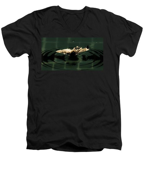 Men's V-Neck T-Shirt featuring the photograph Moth Ripples by Jessica Shelton