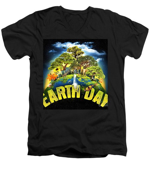 Mother Earth Men's V-Neck T-Shirt by Pg Reproductions
